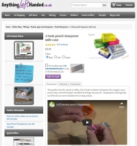 Use of video on left-handed pencil sharpener product page
