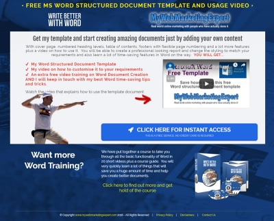 Microsoft Word free structured document template