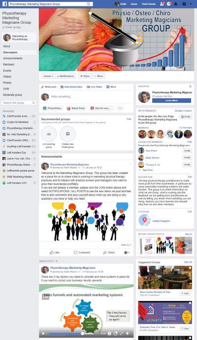 Physio Marketing Magicians Group Facebook page
